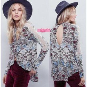 Free People Floral Lace Nouveau New World Blouse